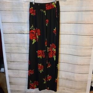 Indero Floral Wide-Leg Pants, Size Small